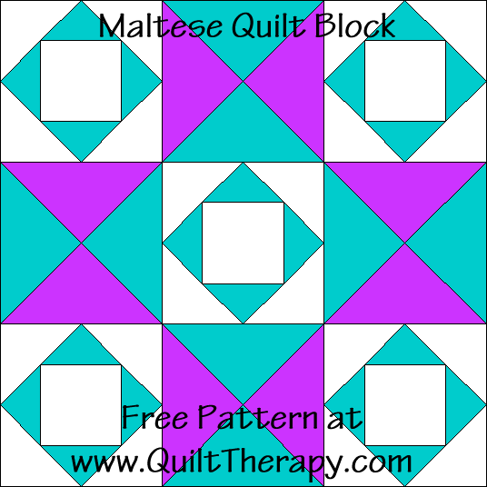 Maltese Cross Quilt Block Free Pattern at QuiltTherapy.com!