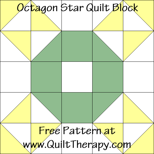 Octagon Star Quilt Block Free Pattern at QuiltTherapy.com!