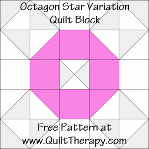 Octagon Star Variation Quilt Block Free Pattern at QuiltTherapy.com!