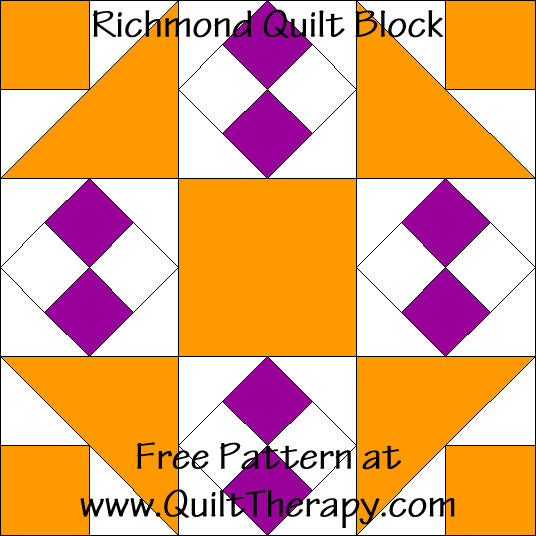 Richmond Quilt Block Free Pattern at QuiltTherapy.com!