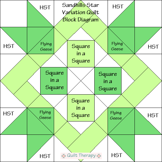Sandhills Star Variation Quilt Block Diagram Free Pattern at QuiltTherapy.com!