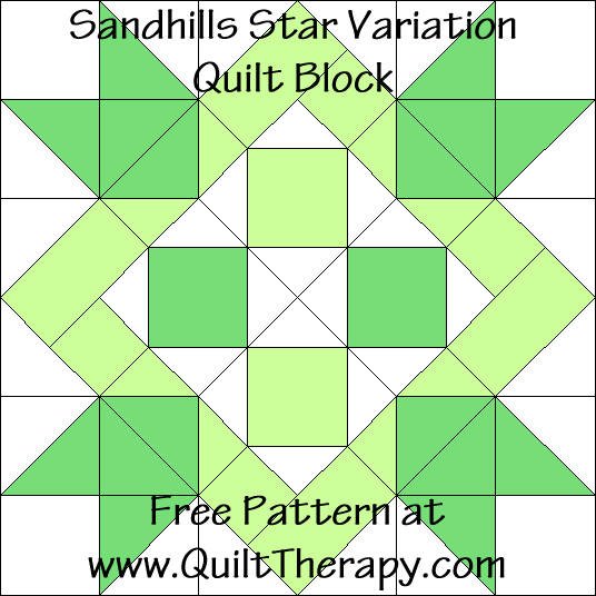 Sandhills Star Variation Quilt Block Free Pattern at QuiltTherapy.com!