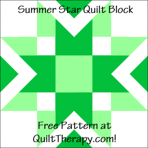 """Summer Star Quilt Block Free Pattern for a 12"""" quilt block at QuiltTherapy.com!"""