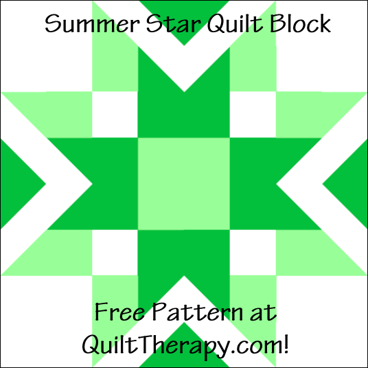 "Summer Star Quilt Block Free Pattern for a 12"" quilt block at QuiltTherapy.com!"