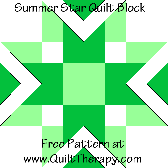 Summer Star Quilt Block Free Pattern at QuiltTherapy.com!