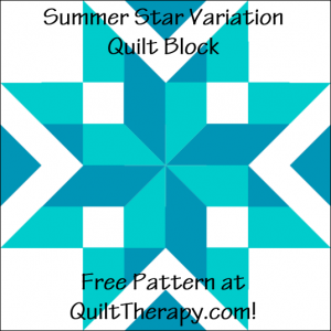 """Summer Stars Variation Quilt Block Free Pattern for a 12"""" quilt block at QuiltTherapy.com!"""