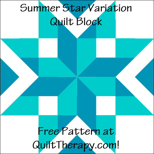 "Summer Stars Variation Quilt Block Free Pattern for a 12"" quilt block at QuiltTherapy.com!"