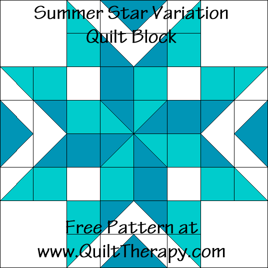 Summer Star Variation Quilt Block Free Pattern at QuiltTherapy.com!