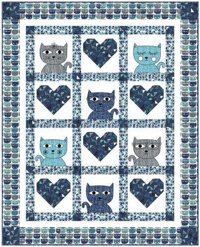 """Hipster Kitties"" Free Pattern designed by Heidi Pridemore from Michael Miller Fabrics"