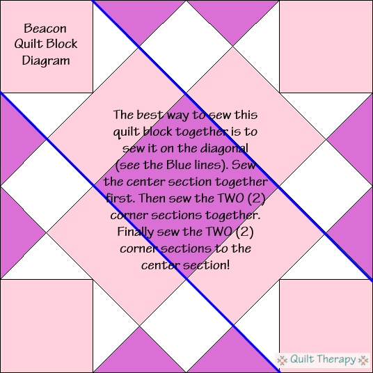 """Beacon Quilt Block Diagram is a Free Pattern for 12"""" finished quilt block at QuiltTherapy.com!"""