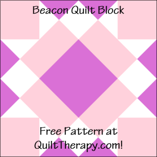 """Beacon Quilt Block is a Free Pattern for a 12"""" quilt block at QuiltTherapy.com!"""