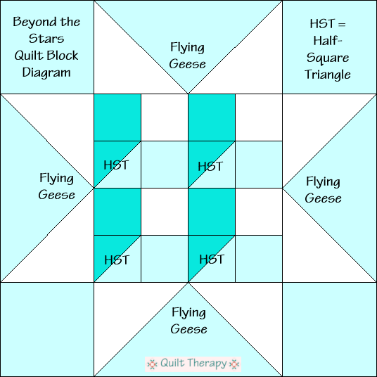 """Beyond the Stars Quilt Block Diagram Free Pattern for 12"""" finished quilt block at QuiltTherapy.com!"""