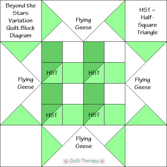 """Beyond the Stars Variation Quilt Block Diagram Free Pattern for 12"""" finished quilt block at QuiltTherapy.com!"""