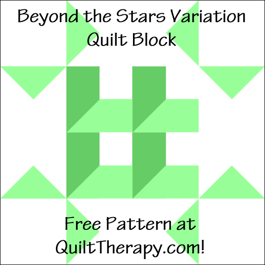 """Beyond the Stars Variation Quilt Block Free Pattern for a 12"""" quilt block at QuiltTherapy.com!"""