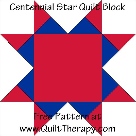 Centennial Star Quilt Block Free Pattern at QuiltTherapy.com!