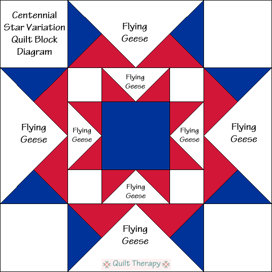 Centennial Star Variation Quilt Block Diagram Free Pattern at QuiltTherapy.com!