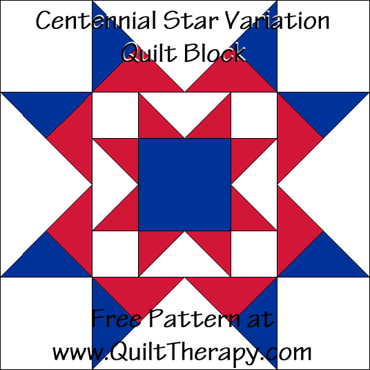 Centennial Star Variation Quilt Block Free Pattern at QuiltTherapy.com!