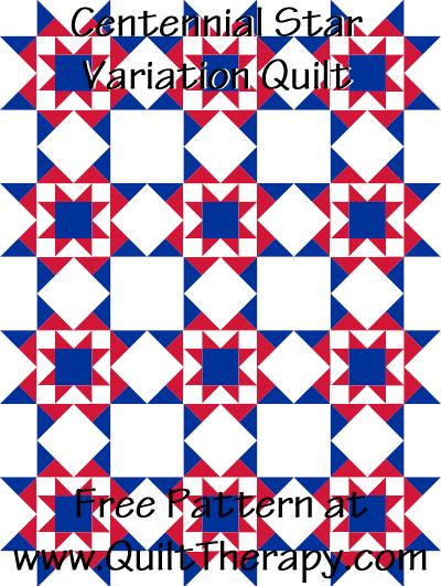 Centennial Star Variation Quilt Free Pattern at QuiltTherapy.com!