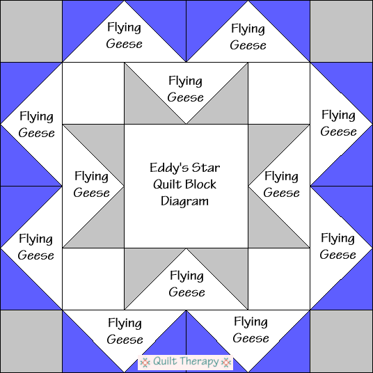"""Eddy's Star Quilt Block Diagram is a Free Pattern for 12"""" finished quilt block at QuiltTherapy.com!"""