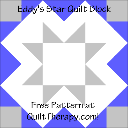 """Eddy's Star Quilt Block is a Free Pattern for a 12"""" quilt block at QuiltTherapy.com!"""
