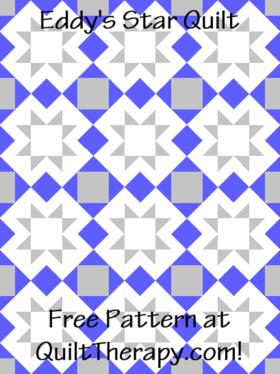 """Eddy's Star Quilt is a Free Pattern for a 36"""" x 48"""" quilt at QuiltTherapy.com!"""