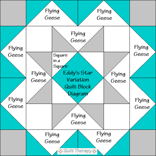 """Eddy's Star Variation Quilt Block Diagram is a Free Pattern for 12"""" finished quilt block at QuiltTherapy.com!"""
