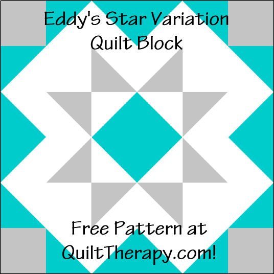 """Eddy's Star Variation Quilt Block is a Free Pattern for a 12"""" quilt block at QuiltTherapy.com!"""