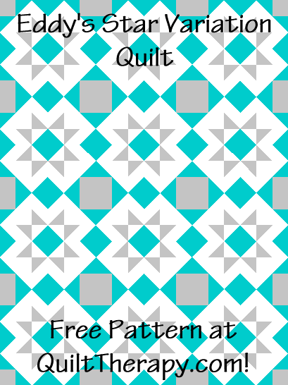 """Eddy's Star Variation Quilt is a Free Pattern for a 36"""" x 48"""" quilt at QuiltTherapy.com!"""