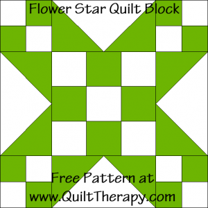 Flower Star Quilt Block Free Pattern at QuiltTherapy.com!
