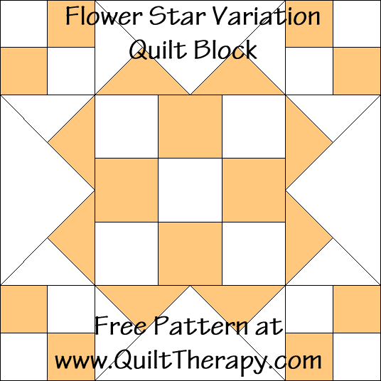 Flower Star Variation Quilt Block Free Pattern at QuiltTherapy.com!