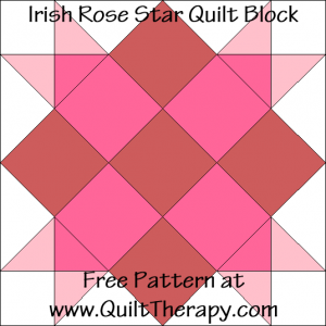 Irish Rose Star Quilt Block Free Pattern at QuiltTherapy.com!