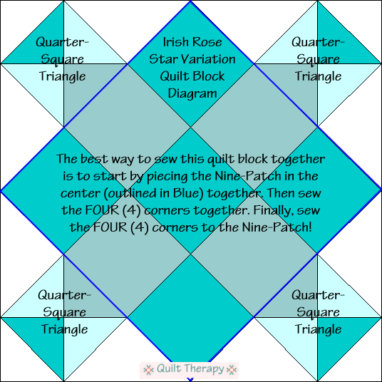 """Irish Rose Star Variation Quilt Block Diagram Free Pattern for 12"""" finished quilt block at QuiltTherapy.com!"""