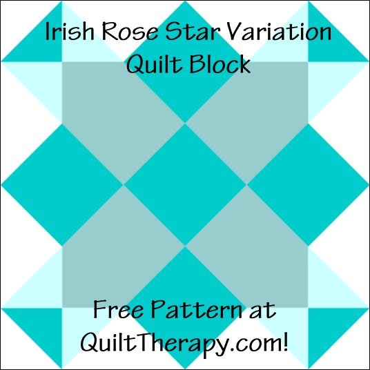 """Irish Rose Star Variation Quilt Block Free Pattern for a 12"""" quilt block at QuiltTherapy.com!"""