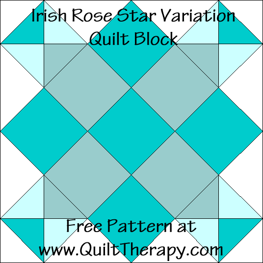 Irish Rose Star Variation Quilt Block Free Pattern at QuiltTherapy.com!