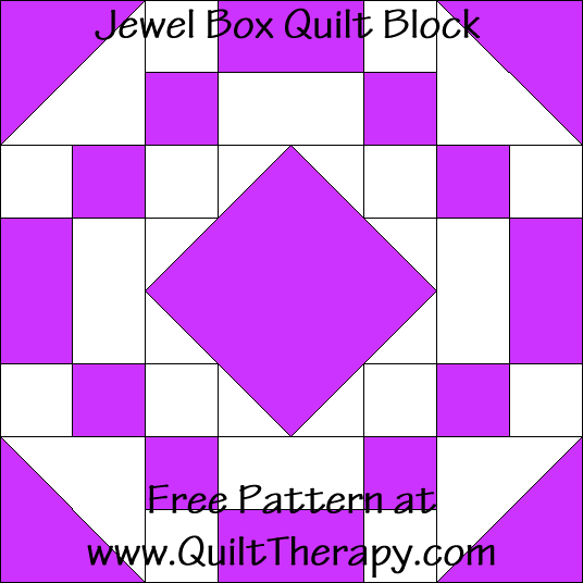 Jewel Box Quilt Block Free Pattern at QuiltTherapy.com!
