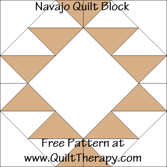 Navajo Quilt Block Free Pattern at QuiltTherapy.com!