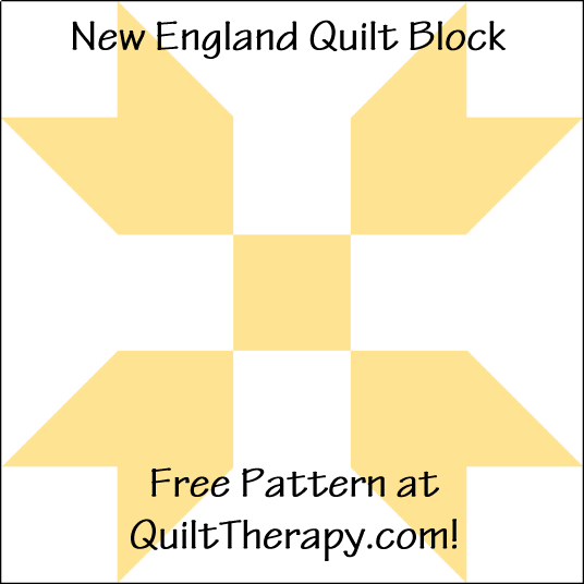 """New England Quilt Block is a Free Pattern for a 12"""" quilt block at QuiltTherapy.com!"""