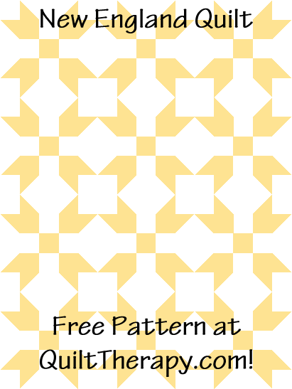 """New England Quilt is a Free Pattern for a 36"""" x 48"""" quilt at QuiltTherapy.com!"""