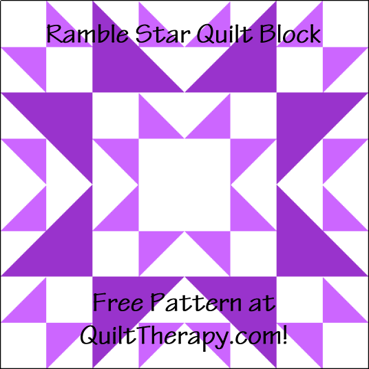 """Ramble Star Quilt Block is a Free Pattern for a 12"""" quilt block at QuiltTherapy.com!"""