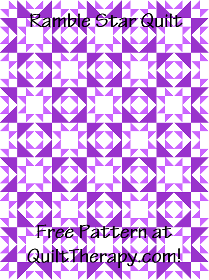 """Ramble Star Quilt is a 36"""" x 48"""" Free Quilt Pattern at QuiltTherapy.com!"""