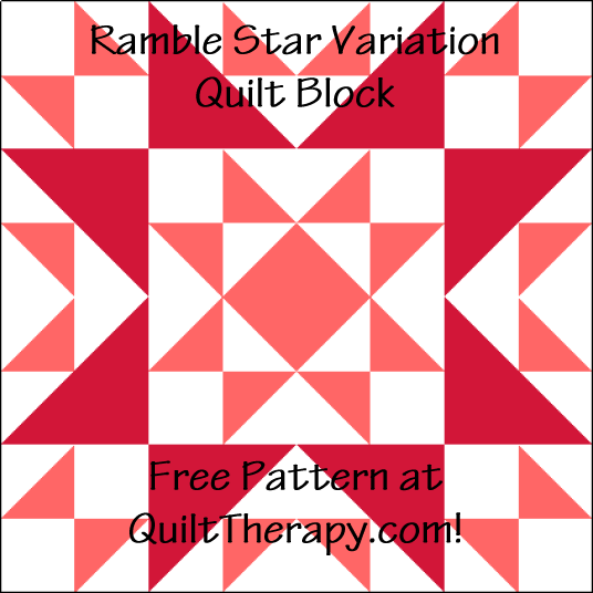 """Ramble Star Variation Quilt Block is a Free Pattern for a 12"""" quilt block at QuiltTherapy.com!"""