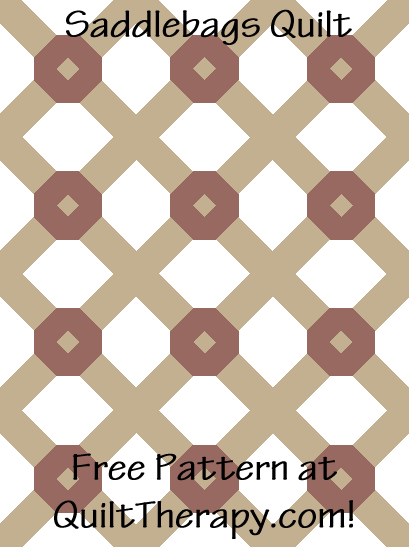 """Saddlebags Quilt is a 36"""" x 48"""" Free Quilt Pattern at QuiltTherapy.com!"""