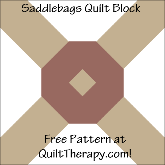 """Saddlebags Quilt Block is a Free Pattern for a 12"""" quilt block at QuiltTherapy.com!"""