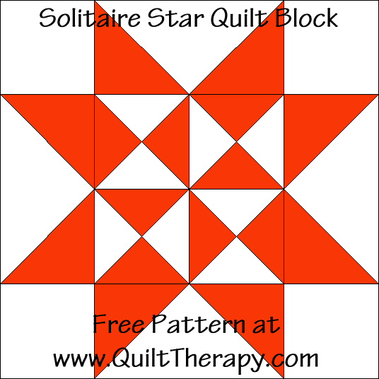 Solitaire Star Quilt Block Free Pattern at QuiltTherapy.com!