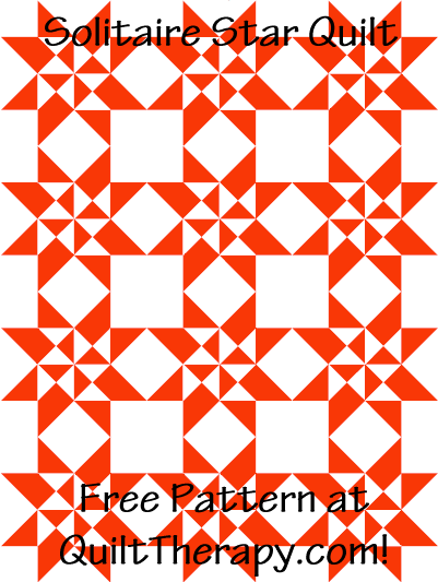 """Solitaire Star Quilt Free Pattern for a 36"""" x 48"""" quilt at QuiltTherapy.com!"""