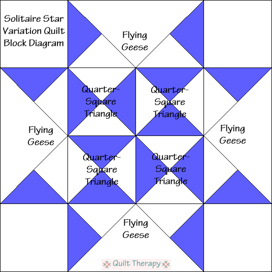 """Solitaire Star Variation Quilt Block Diagram Free Pattern for 12"""" finished quilt block at QuiltTherapy.com!"""