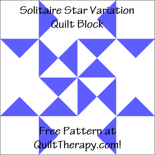 """Solitaire Star Variation Quilt Block Free Pattern for a 12"""" quilt block at QuiltTherapy.com!"""