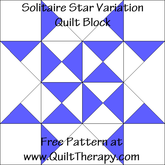 Solitaire Star Variation Quilt Block Free Pattern at QuiltTherapy.com!