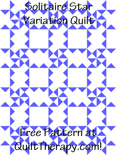 """Solitaire Star Variation Quilt Free Pattern for a 36"""" x 48"""" quilt at QuiltTherapy.com!"""