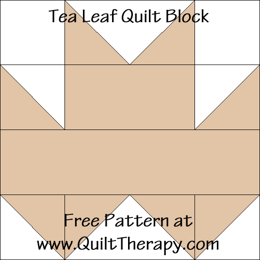 Tea Leaf Quilt Block Free Pattern at QuiltTherapy.com!